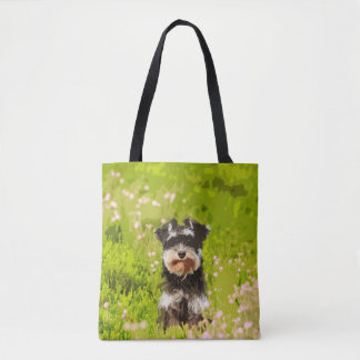 Miniature Schnauzer Water Color Art Painting Tote Bag