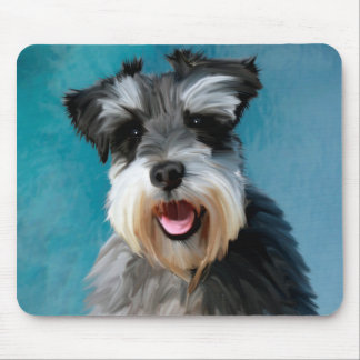 Miniature Schnauzer Water Colour Art Painting Mouse Pad
