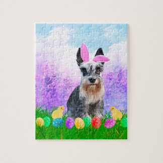 Miniature Schnauzer with Easter Eggs Bunny Chicks Jigsaw Puzzle