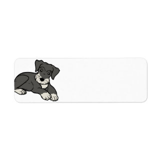 miniature schnuazuer salt and pepper cartoon return address label