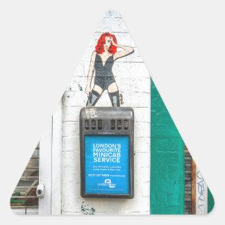 Minicab graffiti girl triangle sticker