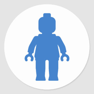 Minifig [Large Blue] by Customize My Minifig Round Sticker