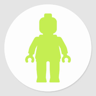 Minifig [Large Lime Green] by Customize My Minifig Round Sticker