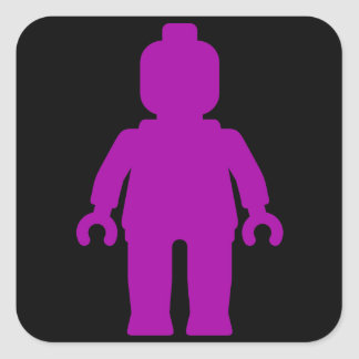 Minifig [Large Purple] by Customize My Minifig Square Sticker
