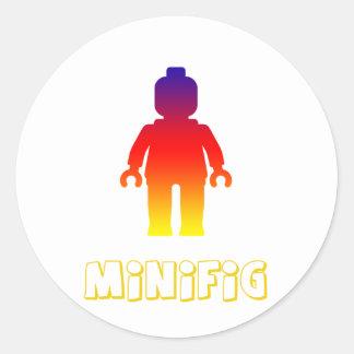 Minifig [Rainbow 2] by Customize My Minifig Round Sticker
