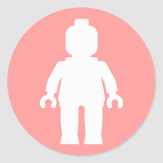 Minifig [White] by Customise My Minifig Round Sticker