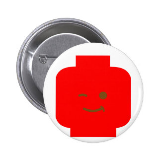 Minifig Winking Head by Customize My Minifig Pinback Buttons