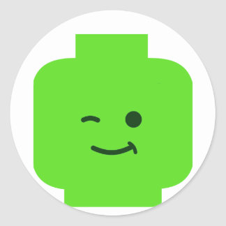 Minifig Winking Head by Customize My Minifig Round Stickers
