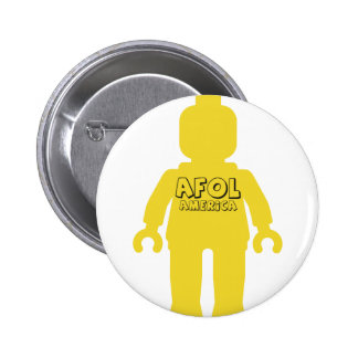 Minifig with AFOL America Slogan Pinback Button