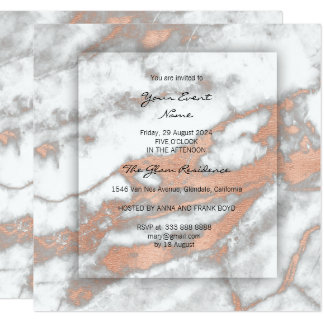 Minimal 3-Faux Gray Rose Gold Conceptual Marble Card