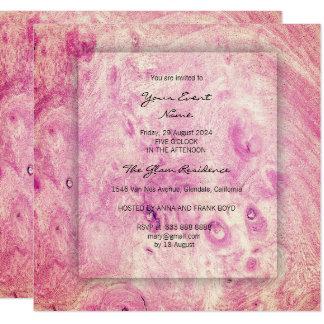Minimal 3-Faux Pink Rose Wood Bridal Shower Elegan Card
