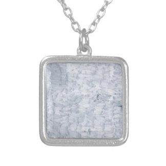 minimal abstract white paint brush texture pattern silver plated necklace