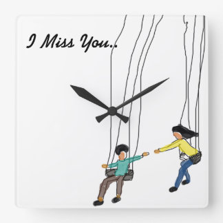 Minimal and cute couple clock saying ,I Miss you