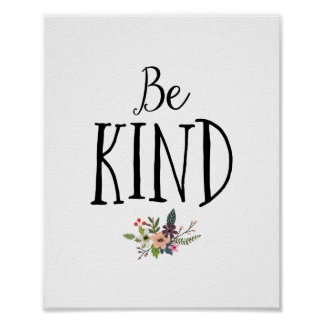 Minimal and Modern Be Kind Nursery Poster