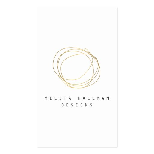 Minimal and Modern Designer Scribble Logo in Gold Business Cards