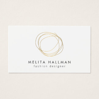 Minimal and Modern Gold Designer Scribble Logo II Business Card