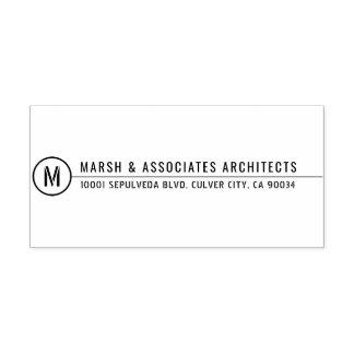 Minimal Architectural Title Line Monogram Self-inking Stamp
