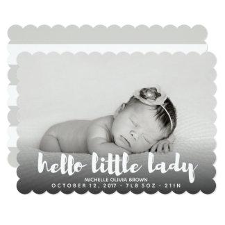 Minimal B\W GREY Hello little baby Photo Birth Card