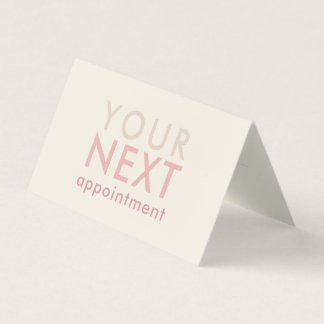 Minimal Basic Appointment Card in Off-White & Pink