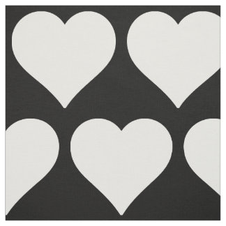 Minimal Black and White Hearts Pattern Fabric