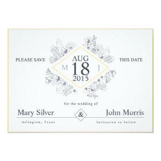 Minimal Black Flowers - Save the Date Card