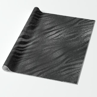 Minimal Black Glass Metallic Zebra Animal Skin Wrapping Paper
