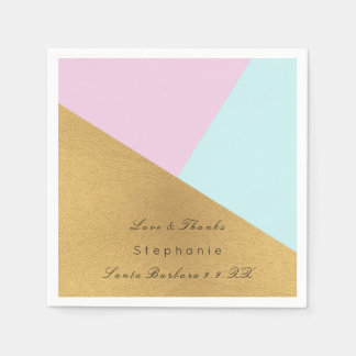 Minimal Black Gold Metal Blue Pastel Pink Tiffany Disposable Napkins