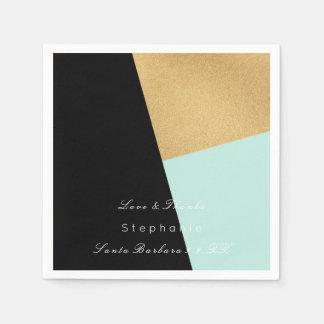 Minimal Black Gold Metal Tiffany Corporate Wedding Paper Napkin