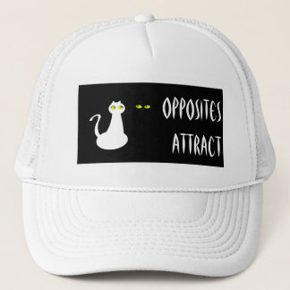 Minimal Black White Cat Funny Love Chic Unique Trucker Hat