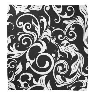 Minimal Black White Floral Wallpaper Swirl Pattern Bandana