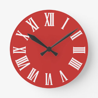 Minimal Black White Red Roman Numbers Round Clock