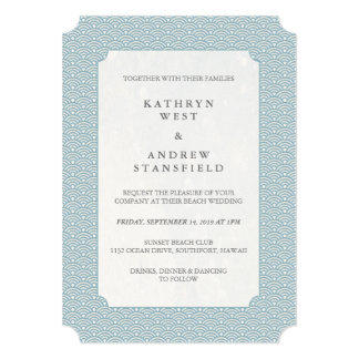 Minimal Blue Small Waves Wedding Invitation