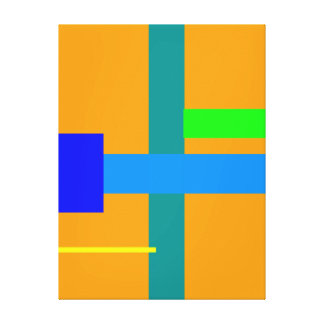 Minimal Blue Station Orange Peel Stretched Canvas Prints