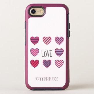 Minimal Bold Geometric Hearts Love Valentine OtterBox Symmetry iPhone 8/7 Case