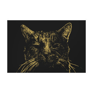 Minimal Cat Canvas Stretched Canvas Print