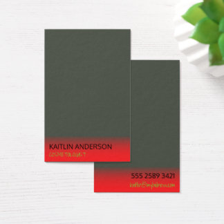 Minimal Charcoal Ivory Red Mist Cosmetologist Business Card