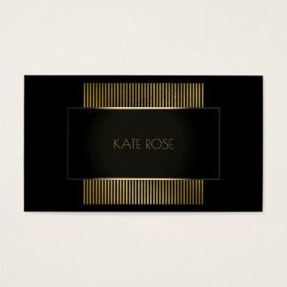 Minimal Conceptual Geometric Black Gold Frame Glam Business Card