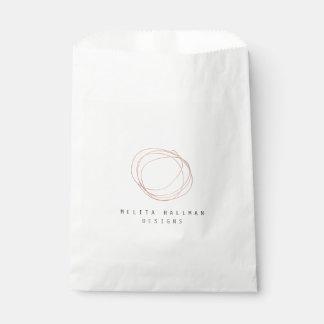 Minimal Designer Scribble Logo in Rose Gold Favour Bag