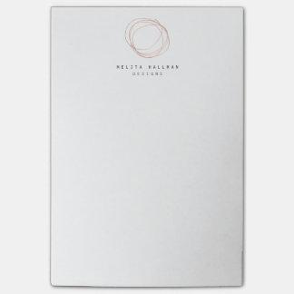 Minimal Designer Scribble Logo in Rose Gold Post-it Notes