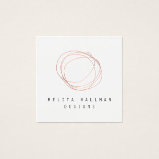 Minimal Designer Scribble Logo in Rose Gold Square Business Card