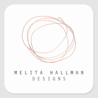 Minimal Designer Scribble Logo in Rose Gold Square Sticker