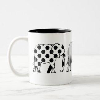 Minimal Dots Stripes Stars Black White Elephants Two-Tone Coffee Mug
