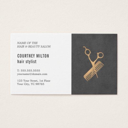 Minimal Elegant Black Faux Gold Hair Stylist Business Card