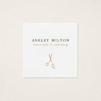 Minimal Elegant Faux Gold Scissors Hair Stylist Square Business Card