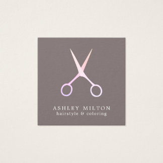 Minimal Elegant Grey Rose Scissors Hair Stylist Square Business Card
