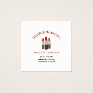 Minimal Elegant Makeup Artist Three Red Lipsticks Square Business Card