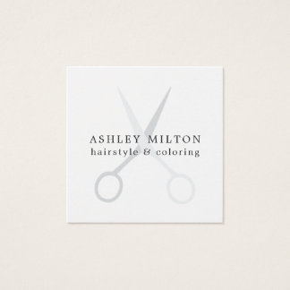 Minimal Elegant White Grey Scissors Hair Stylist Square Business Card