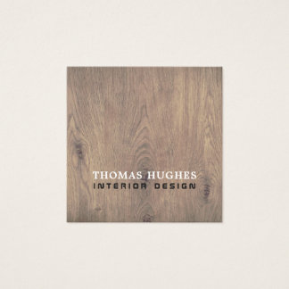 Minimal Elegant Wooden Interior Designer Square Business Card