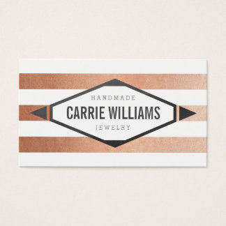 MINIMAL EMBLEM striped simple tribal rose gold Business Card