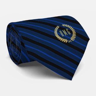 Minimal Framed Gold Monogram Blue | Black Stripe Tie